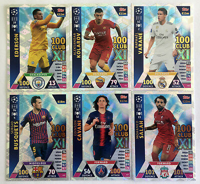 2018 2019 Topps Match Attax UEFA Champions League - 100 CLUB XI 429 - 439 SET