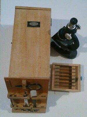 Vtg Collectible Stellar High-Quality Microscope In Orignal Box With Instruments