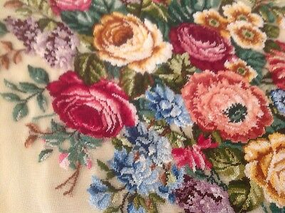Petit point, gobelin, tapestry vintage ? Antique? Round