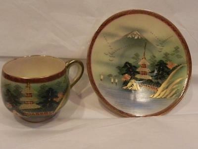 Vintage Hand Painted Cup and Saucer from Soko China Satsuma