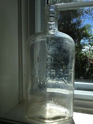1960's Bols Silver Top Dry Gin Embssed bottle