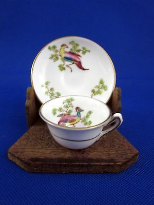 Antique Crown Staffordshire Miniature Demitasse Tea Cup and Saucer Birds