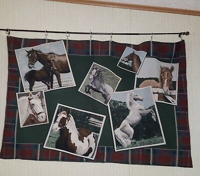 Horse Scene ~  Wall Hanging Tapestry Lined.  Many Breeds 5'   Burgundy  Green