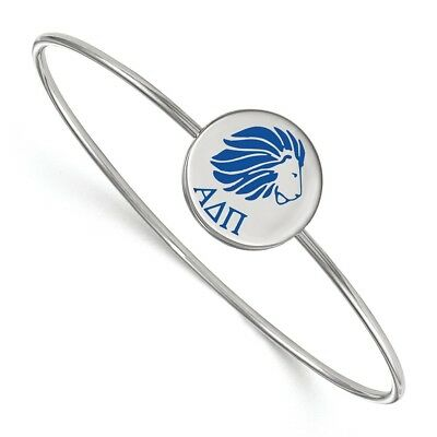 Sterling Silver LogoArt Alpha Delta Pi Enameled Slip-on Bangle SS048ADP-6