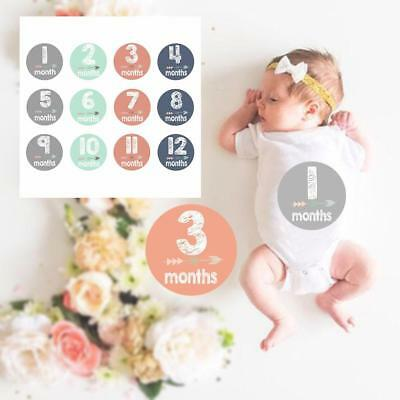 "Baby Boy Girl Monthly Stickers 1-12months + Just Born Gray/Blue/Green 4"" Circle"