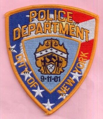 New York City Police Dept Shoulder Patch Red White & Blue Background 9-11-01 WTC