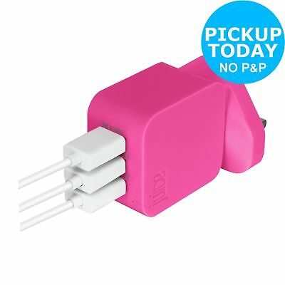 Juice USB 2.0/3.0 Triple Wall Charger - Pink