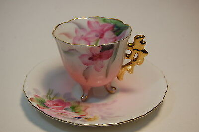 Takiro Japan Demi Floral Footed Hand Painted Tea Cup & Saucer Set