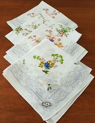 4 x Vintage Pure Cotton WHITE MULTI-COLOURED FLORAL Ladies Hankies HANDKERCHIEFS
