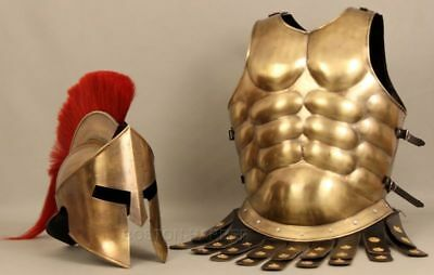 300 Medieval Muscle Jacket Armor With King Roman Spartan Helmet Halloween Gift