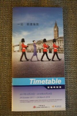 Timetable Flugplan China Airlines 2017/2018