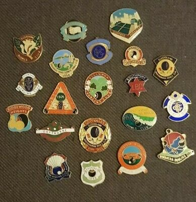 20x BOWLING CLUB BADGES *CLASPS REMOVED**