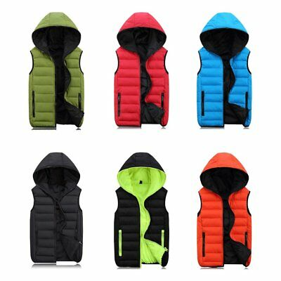 Sleeveless Jacket for Men Women Fashion Warm Hooded Winter Vest Mens Coats RA