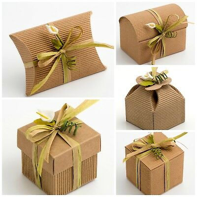 CORRUGATED KRAFT Natural DIY Wedding Party Favour Gift Boxes Shabby Chic Vintage