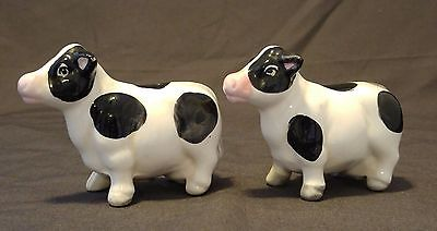 Salt and Pepper Shakers White Cows with Black Spots & Stoppers Vintage Item