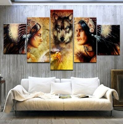 5 Pcs Picture Indians and Wolf Poster Painting Canvas Print Wall Art Home Decor