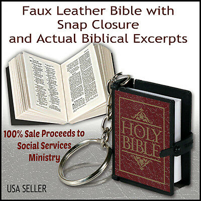 "Smallest Bible Burgundy Faux Leather Keychain 1 1/2"" x 1"""
