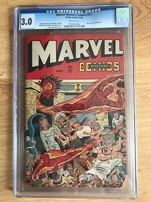 Marvel Mystery Comics #71 ==> Cgc 3.0 Hypodermic Needle Cover Timely Comics 1946
