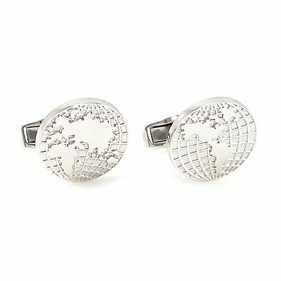 S925 Sterling Silver luxury World Map Cufflinks With Box 0839