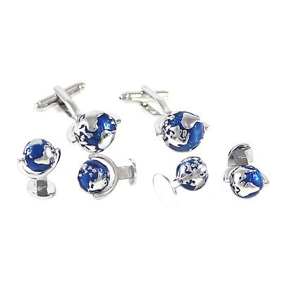 Rhodium Plated Blue And Silver Globe Cuff Link And Shirt Studs Set With Box 1585