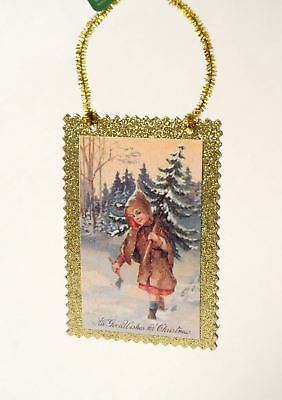 Victorian Style Postcard Child Carrying Tree In Snow Christmas Ornament New