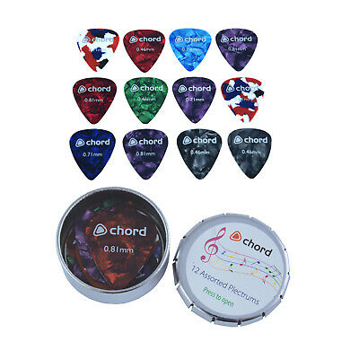 12 Assorted Celluloid Guitar Picks Plectrums In A Metal Storage Tin Ukulele