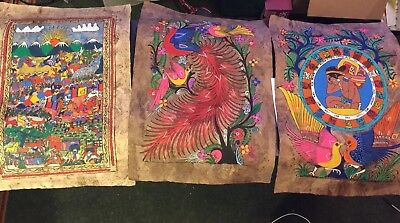 """3 LARGE Hand Painted Mexican Folk art amate bark painting """"vintage"""""""