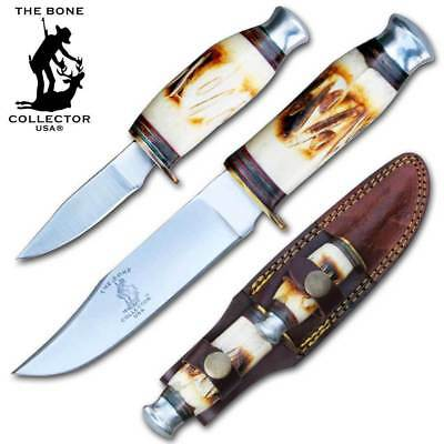 2 Piece Set Bone Collector USA Hand Made Hunting Survival Knife W/Leather Sheath