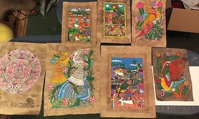 7 Hand Painted mexican folk art amate bark paintings Small And Medium Size