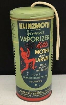 1920's Dancing RED DEVIL Klinzmoth Chicago-NY Tin Advertising Can Great Graphics