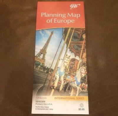 AAA PLANNING MAP OF EUROPE International Series Travel ROAD MAP 2016-2019