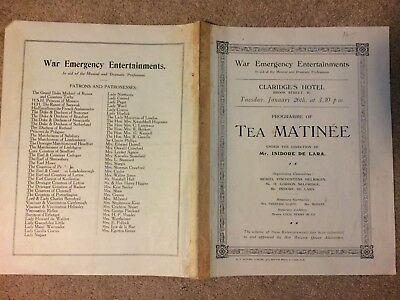 WW1 War Emergency Entertainments Tea Matinee Jan 1915 Claridges Hotel