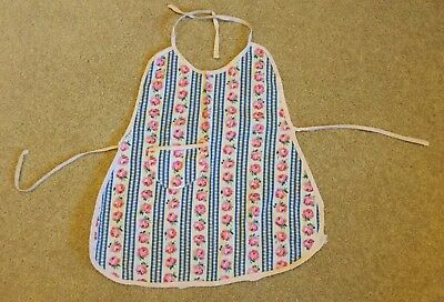 1940's 1950's Handmade Babies Apron Pink Flowers White And Blue Large Doll