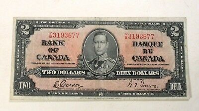 CANADA 2 DOLLARS PC-22b SIG GORDON-TOWERS F/VF 1937 Y/B PREFIX KING GEORGE VI