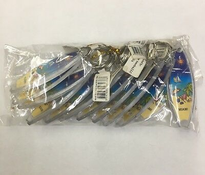 Great Gift 12 Pieces  Miami Beach Souvenir Keychain Plastic Double Sided New