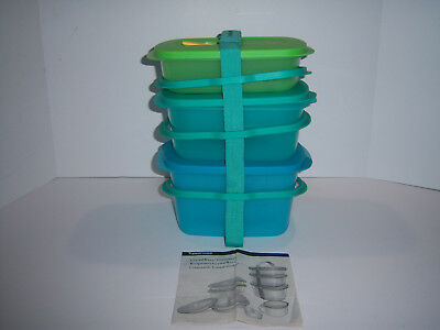 (3) Tupperware Crystal Wave Container w/ Cariolier Divider Tray New Blue Green