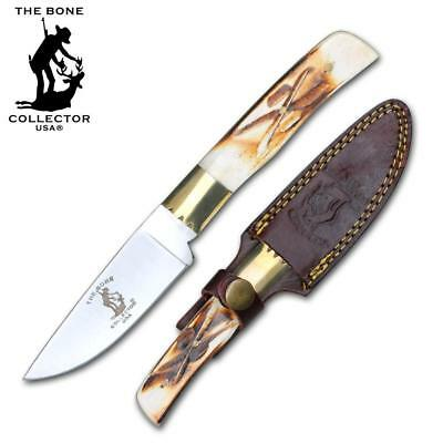 """7.5"""" Bone Collector Hand Made Full Tang Hunting Survival Knife W/Leather Sheath"""