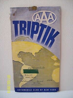 1948 AAA TRIPTIK ~ BRONX NY to Quebec Canada Automobile Club of New York