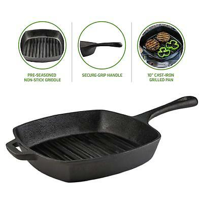 Ovente Pre-Seasoned Square Cast-Iron Grill Pan 10 Inch Secure-Grip Handle Black