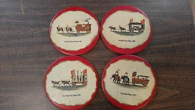 Vintage SORIANO Ceramics Circus Wagons Faux Skin on Ceramic Disk 4 Wall Hangers