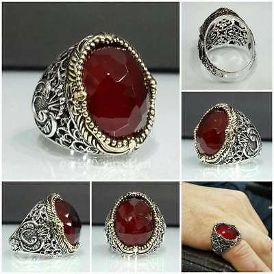 Handcraft 925 Sterling Silver Mens Jewelry Madagascar Red Ruby Men's Ring