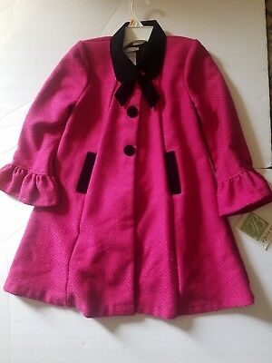 Nwt Bonnie Jean Girls Fancy Coat And Dress Set Size 6X Pink Black $100 Holidays