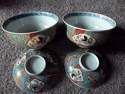 (2) Sets RICE BOWL lid Moriage Imari Meiji c.1800's JAPANESE PORCELAIN chinese