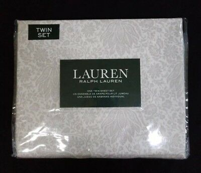 Ralph Lauren Floral Cottage Chic Winter Gray On White Twin 3 Pc Sheet Set