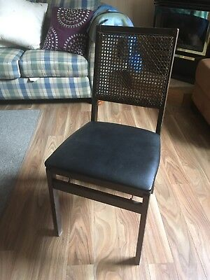 Vintage Leg-O-Matic Lorraine Wicker Cane Back Set Mid Century Folding Chair rare