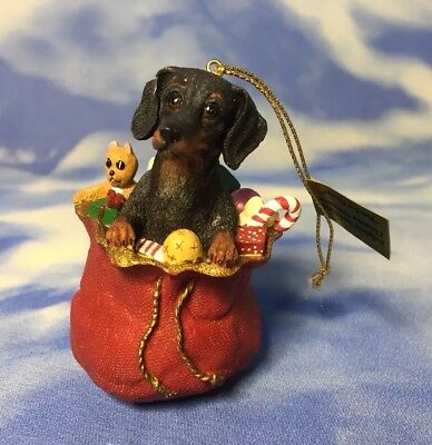 "NEW Danbury Mint Delightful Dachshunds ""Paw-Fect Present"" Dog Ornament Sack NWT"