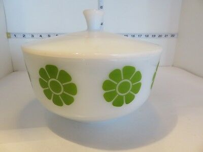 Vintage Green Daisy Federal Glass Covered Bowl