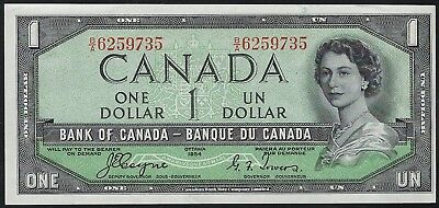"Canada 1954 One Dollar p66a ""Devil's Face"" Variety AU"