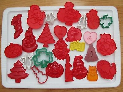 Lot Of 47 Vintage/modern Colorful Plastic Cookie Cutters Holiday Themes