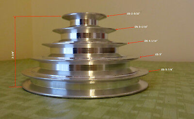 5 Step Aluminum Motor Pulley for 24mm Keyed Shaft. New